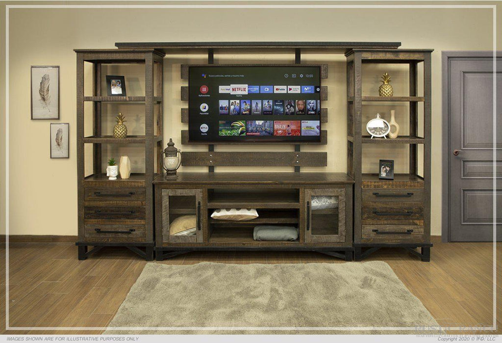 "LOFT BROWN TV STAND - 68""-Rustic Ranch"