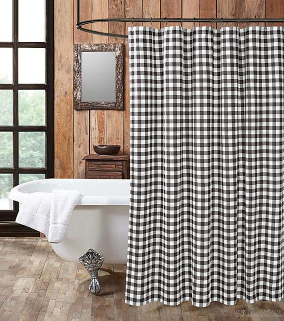 BLACK/WHITE CHECK SHOWER CURTAIN SET-Rustic Ranch