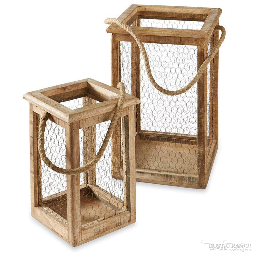 CHICKEN WIRE LANTERNS - TWO SIZES-Rustic Ranch