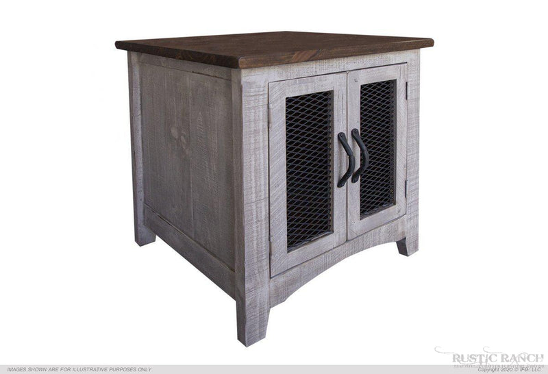 PUEBLO GRAY END TABLE-Rustic Ranch