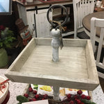 2 TIERED WHITE STAINED TRAY-Rustic Ranch