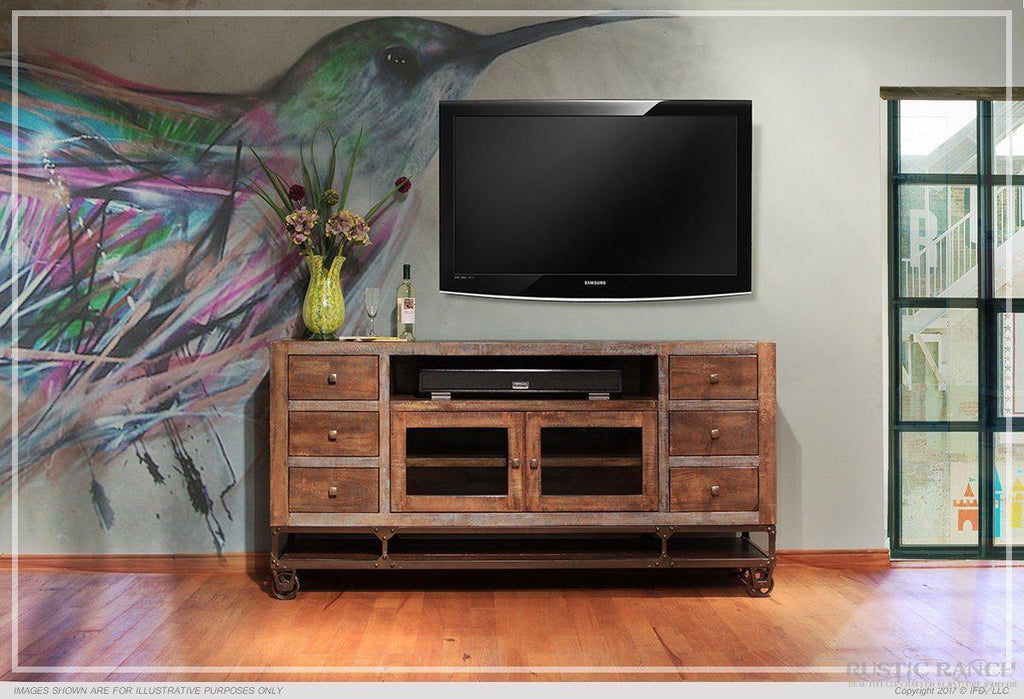 "URBAN GOLD 76"" TV STAND-Rustic Ranch"