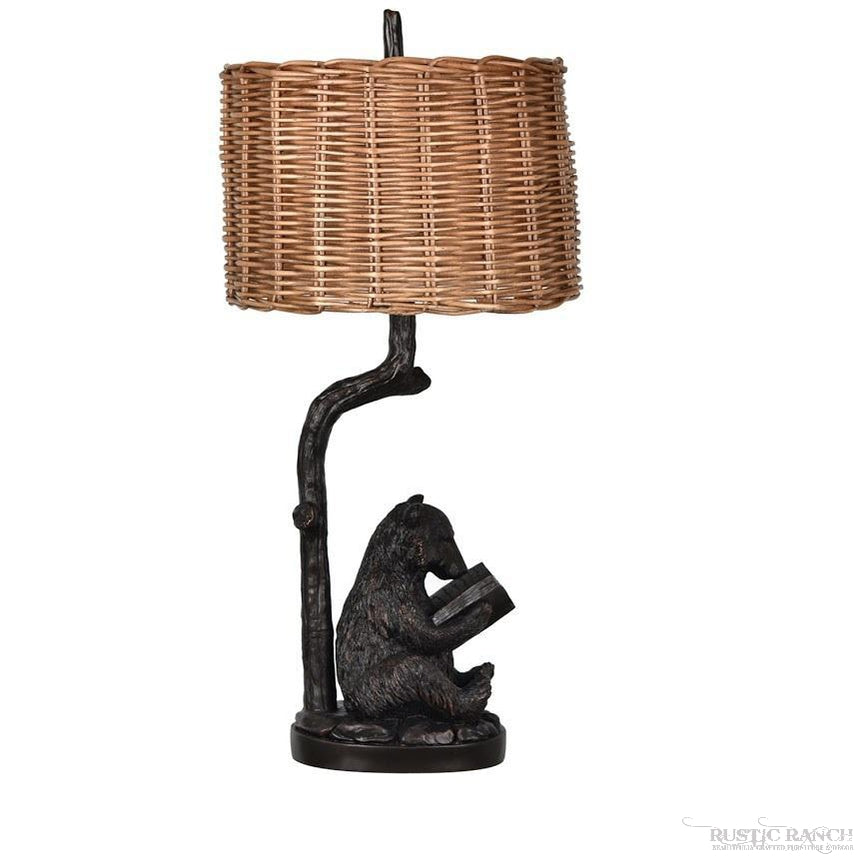 BEAR READING LAMP-Rustic Ranch