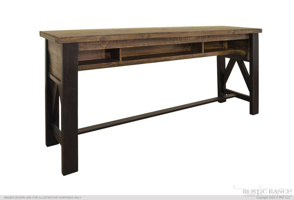 LOFT BROWN COUNTER HEIGHT SOFA TABLE-Rustic Ranch