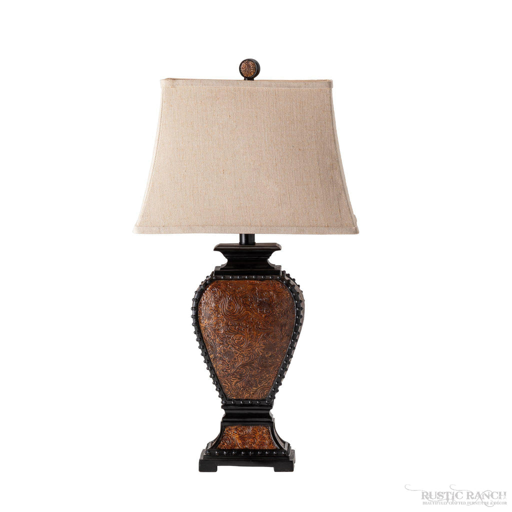 Tooled Leather Table lamp-Rustic Ranch