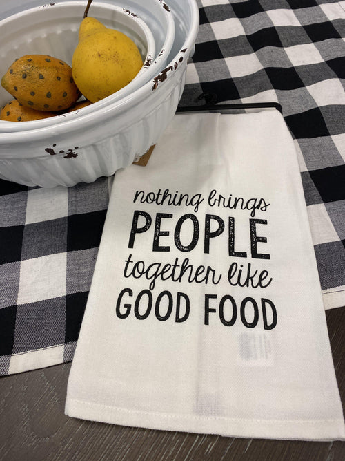 NOTHING BRINGS PRINTED TOWEL BY MUD PIE-Rustic Ranch