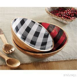 BUFFALO CHECK WOOD BOWL SET-Rustic Ranch
