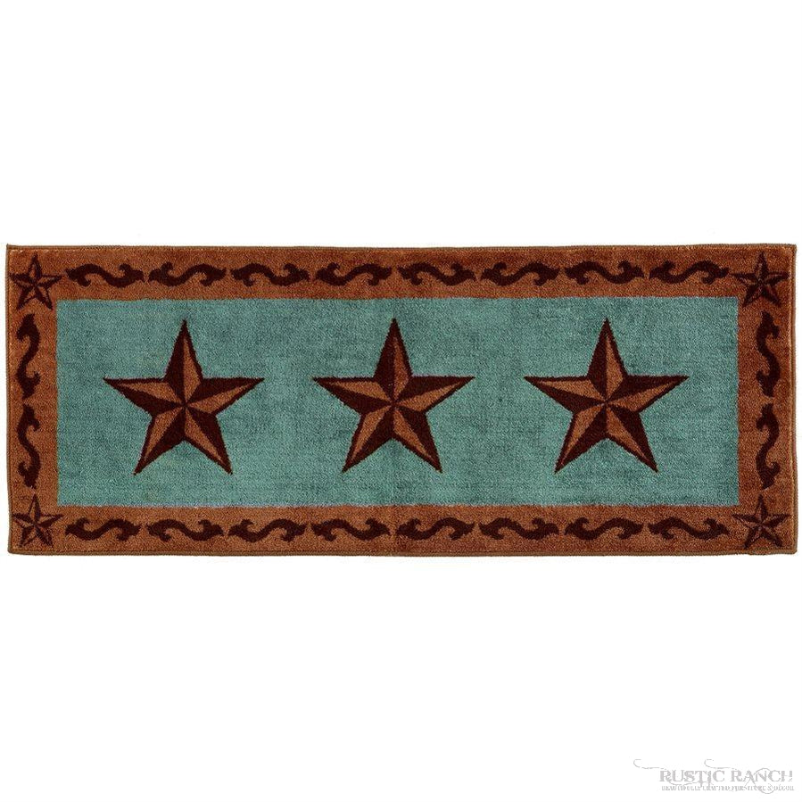 "STAR PRINT RUG 24"" X 60"" - TURQUOISE-Rustic Ranch"