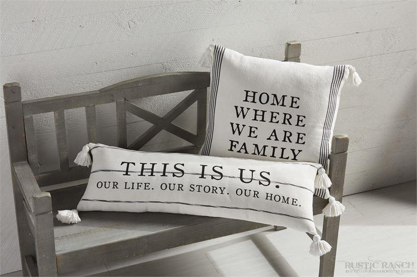FAMILY LOOMED PILLOW-Rustic Ranch