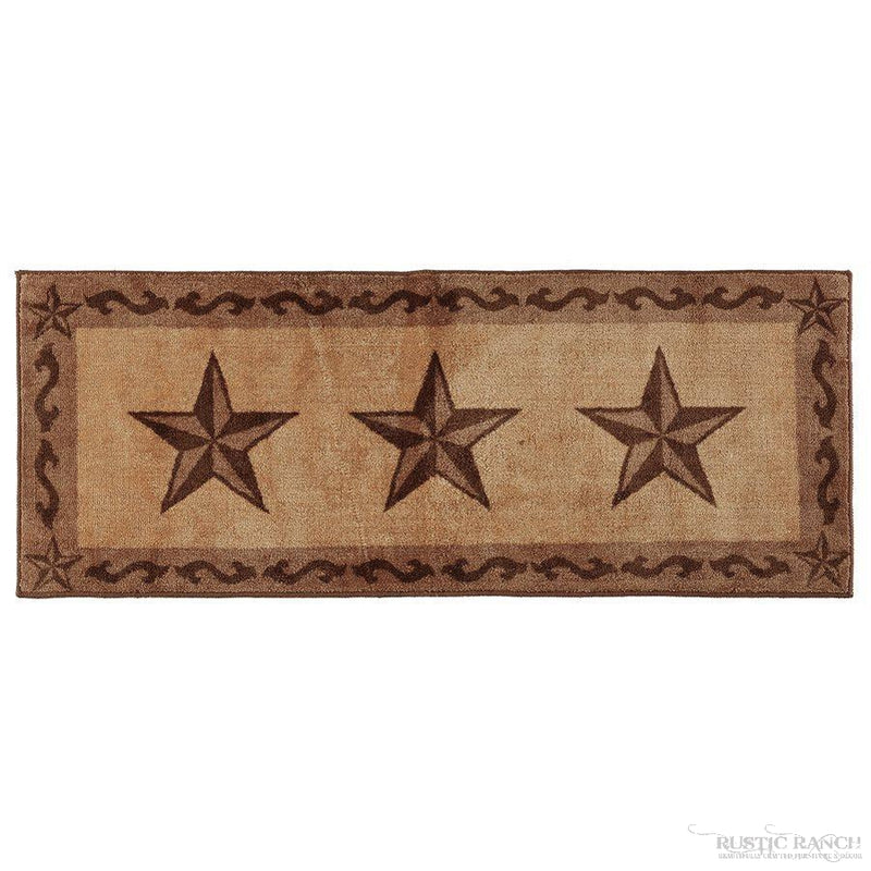 "STAR PRINT RUG 24"" X 60"" - CHOCOLATE-Rustic Ranch"
