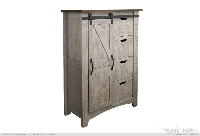 STONE BLACK THREE DRAWER & ONE DOOR CHEST