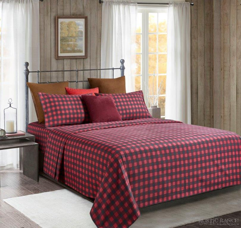 BUFFALO CHECK QUEEN SHEET SET-Rustic Ranch