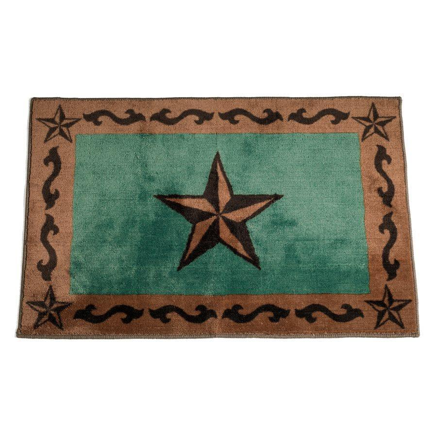 "STAR PRINT RUG 24"" X 36"" - TURQUOISE-Rustic Ranch"