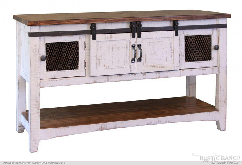 PUEBLO WHITE SOFA TABLE-Rustic Ranch