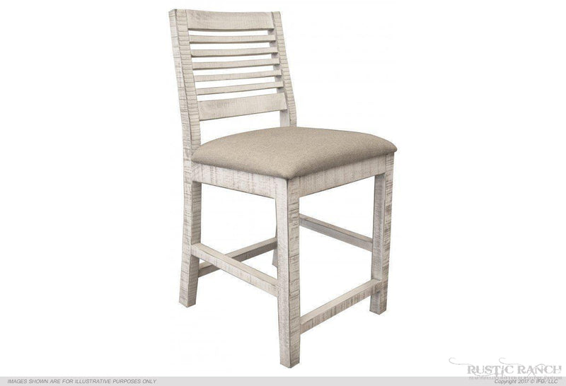 "24"" IVORY FINISH STOOL W/ FABRIC SEAT-Rustic Ranch"