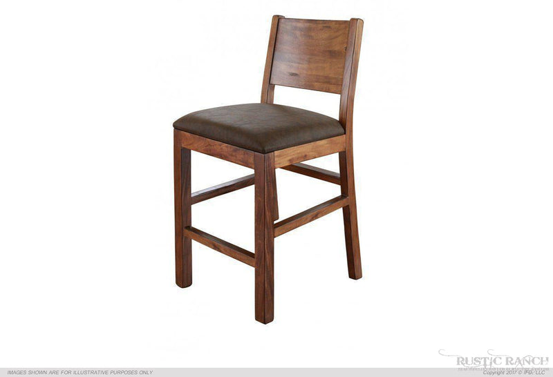 "24"" Stool w/ Choc Leather Seat"