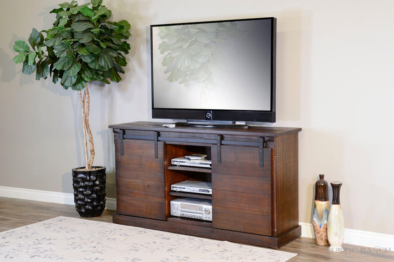 "65"" TV Console w/Barn Door-Rustic Ranch"
