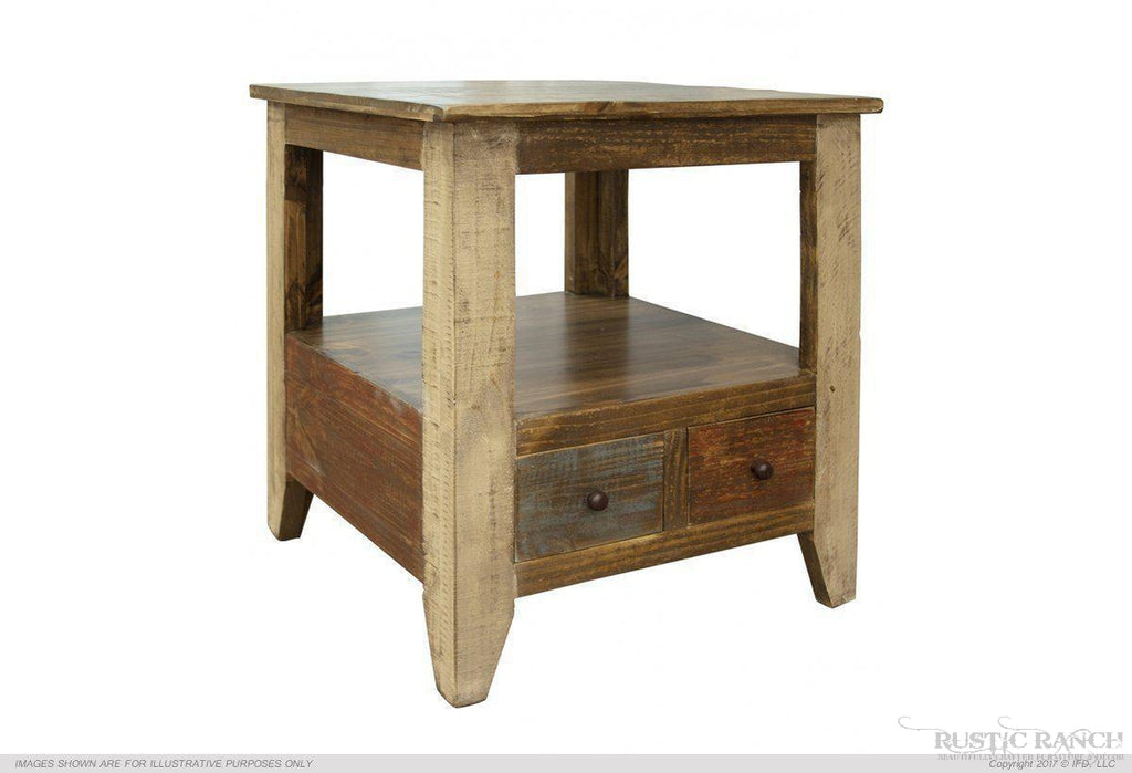 ANTIQUE MULTI COLOUR END TABLE WITH ONE DRAWER-Rustic Ranch