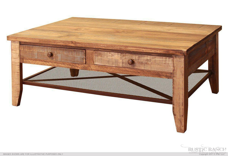 ANTIQUE MULTI COLOUR NARROW DRAWER COCKTAIL TABLE-Rustic Ranch