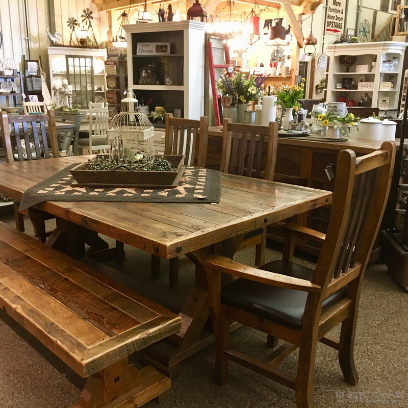 ASPEN LOG SQUARE DINING TABLE-Rustic Ranch