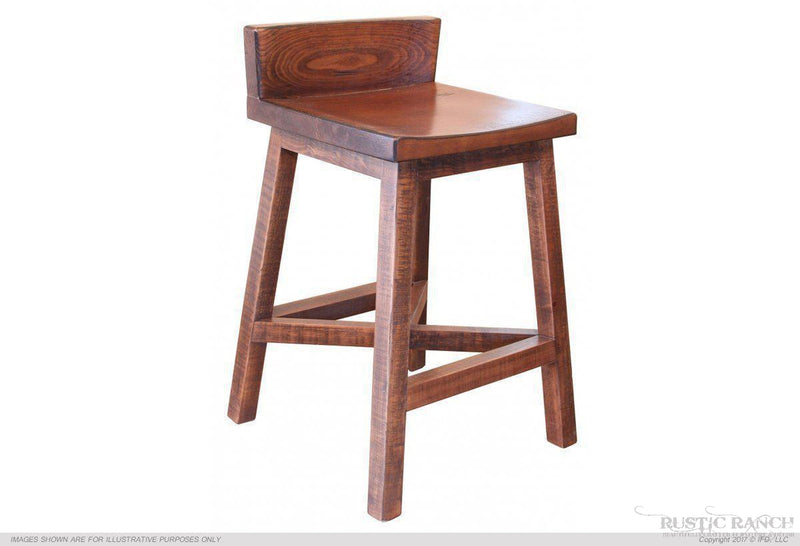"PUEBLO 24"" BARStool WITH Wood Seat-Rustic Ranch"
