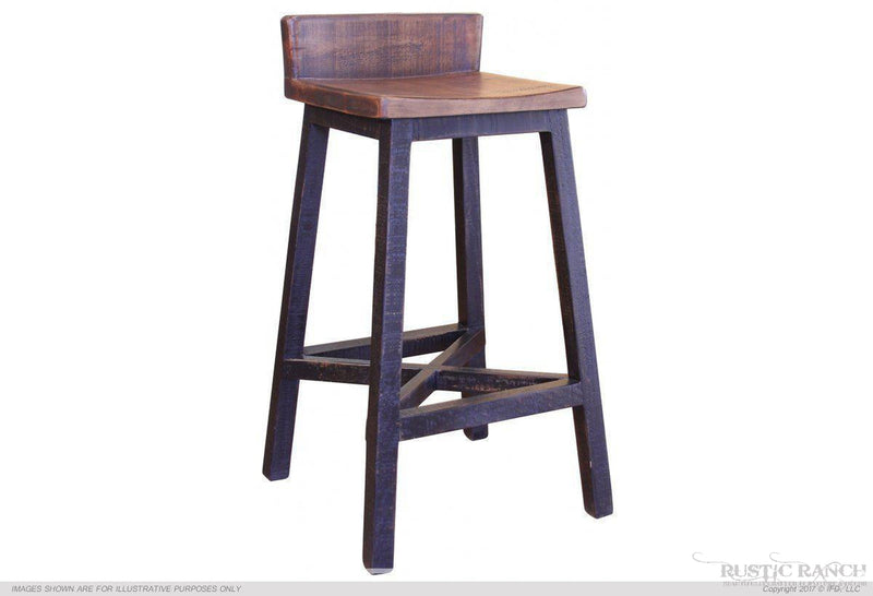 "PUEBLO BLACK 30"" BAR STOOL-Rustic Ranch"
