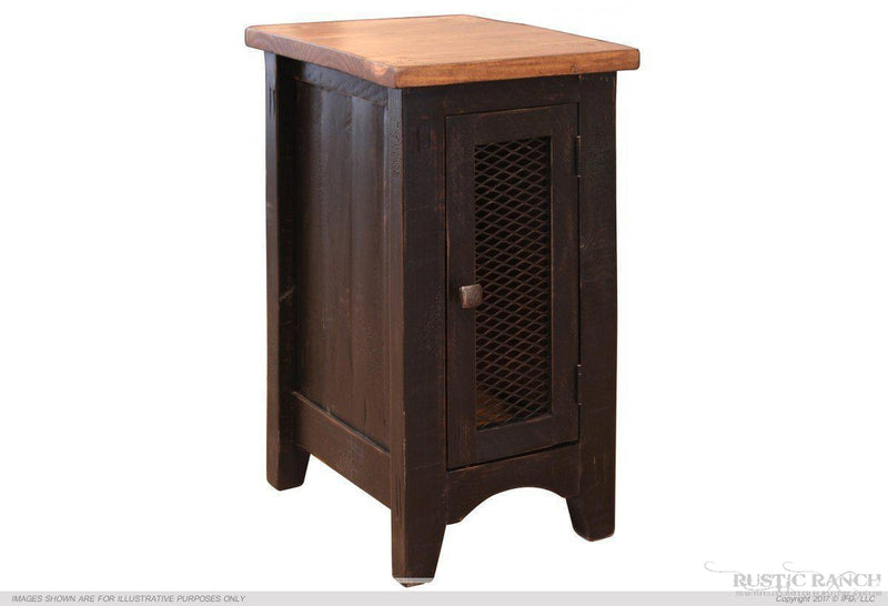 Pueblo Black Chair Side Table-Rustic Ranch