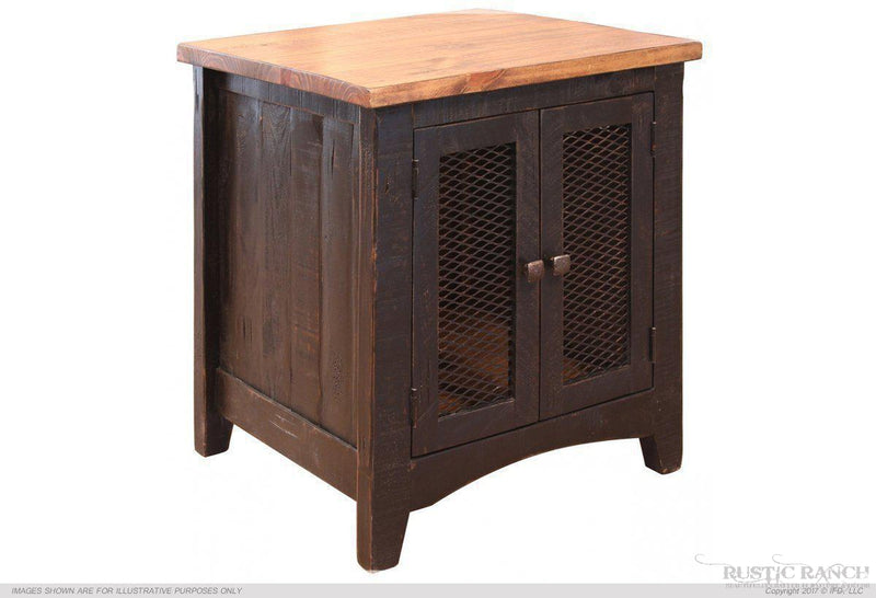 Pueblo Black End Table-Rustic Ranch
