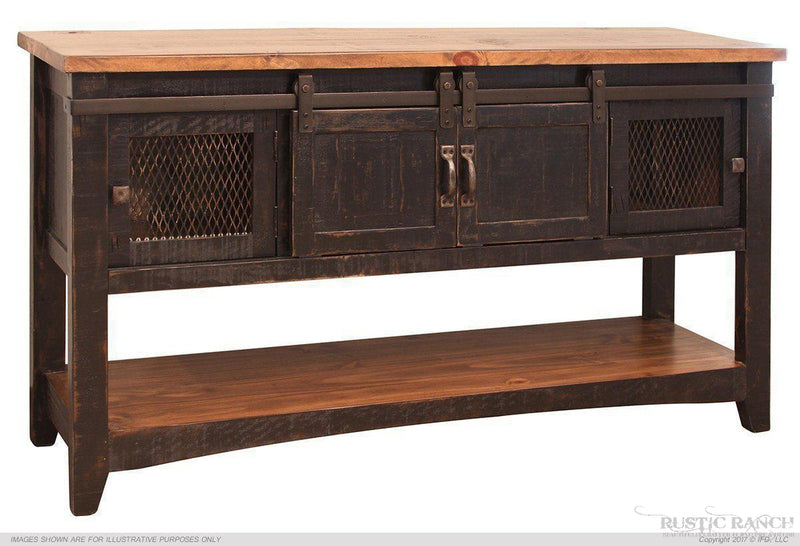 Pueblo Black Sliding Door Sofa Table-Rustic Ranch