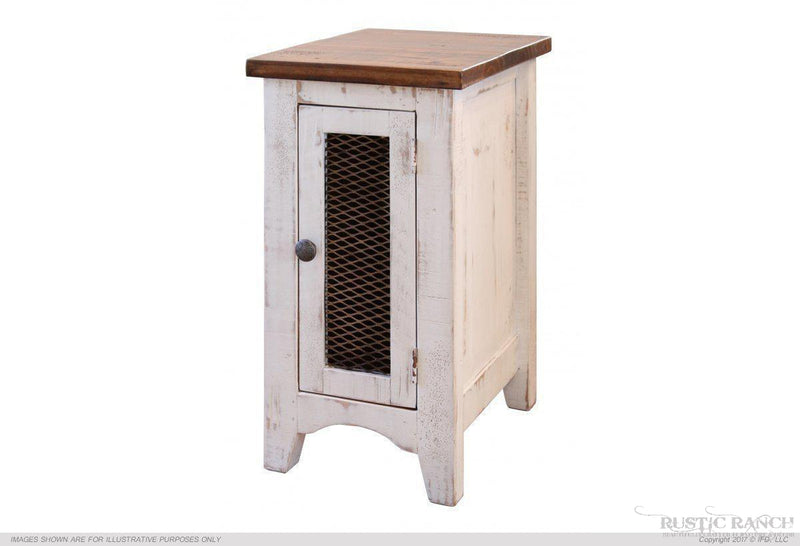 Pueblo White Chair Side Table-Rustic Ranch