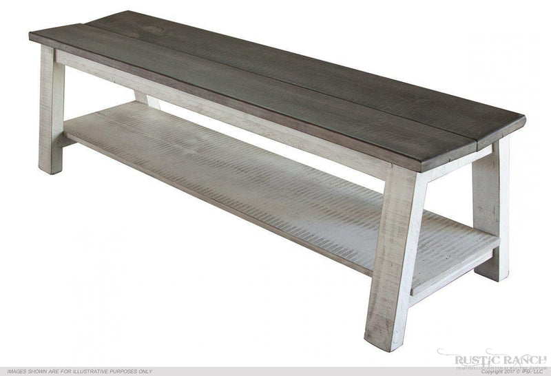 Stone Finish Counter Height Bench-Rustic Ranch