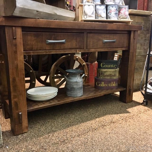 TIMBER SOFA TABLE W/ SHELF-Rustic Ranch