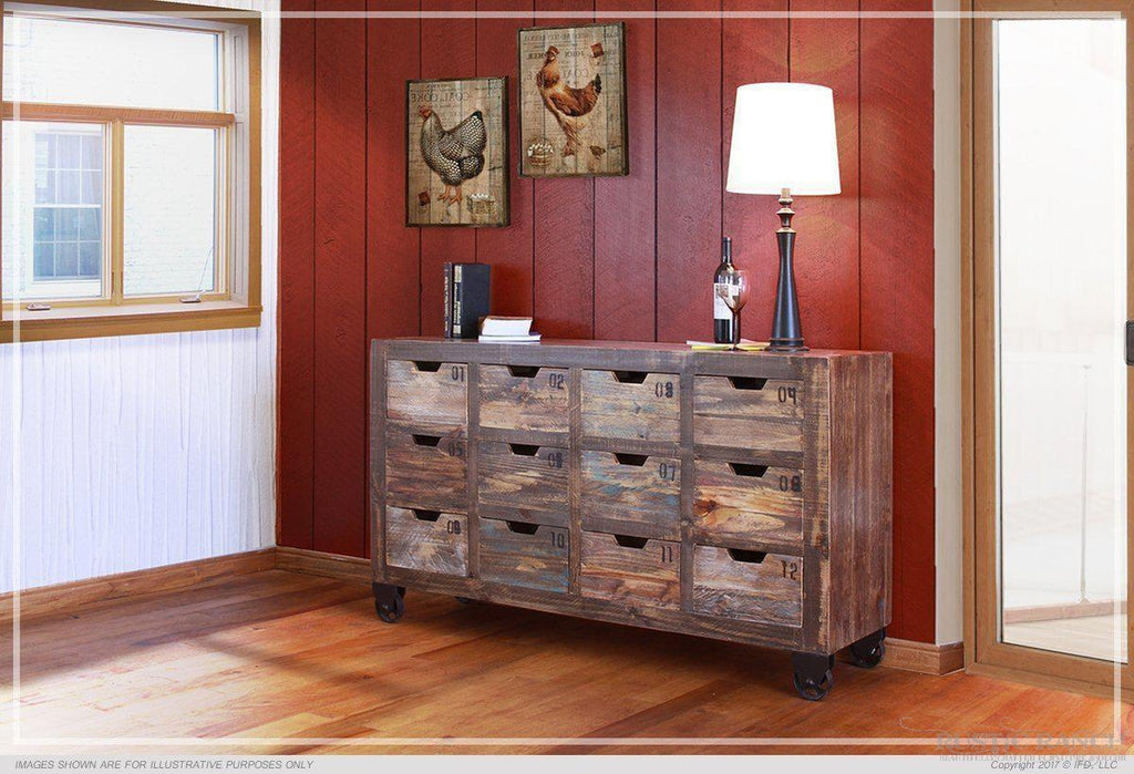 URBAN MULTI COLOUR CONSOLE WITH 12 DRAWERS-Rustic Ranch