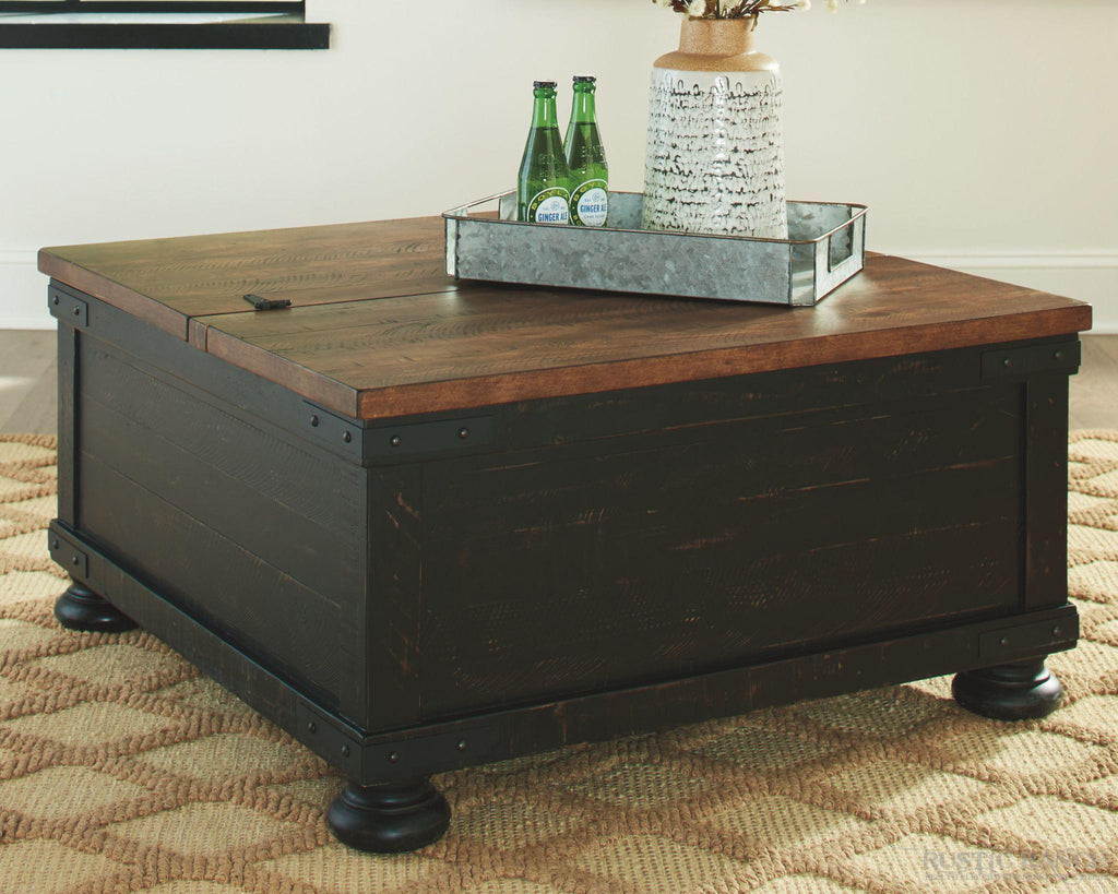 VALEBECK LIFT TOP COFFEE TABLE-Rustic Ranch