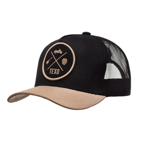 Boné Trucker New Patch Preto e Caramelo