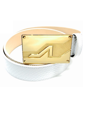 White embossed python leather gold apoli plaque buckle