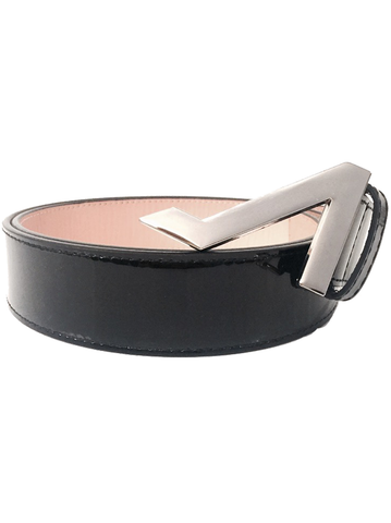 BLACK PATENT LEATHER WITH NICKEL BUCKLE