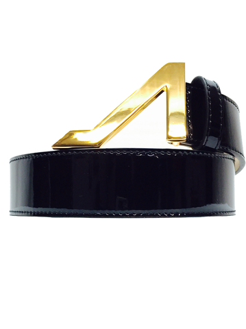 BLACK PATENT LEATHER GOLD BUCKLE