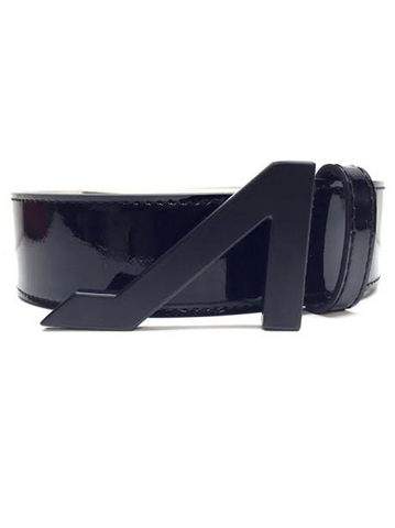 BLACK PATENT LEATHER BLACK MATTE BUCKLE