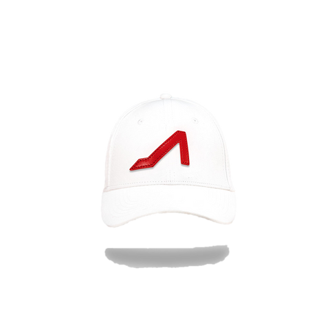 White Ultra Suede with Red Logo