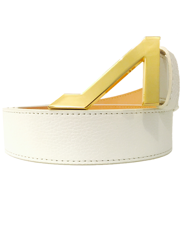 WHITE GRAIN LEATHER WITHGOLD BUCKLE
