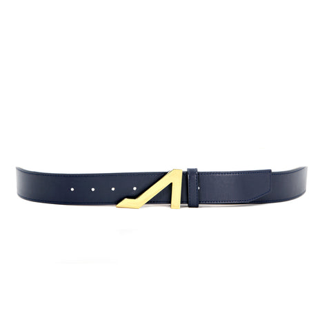 NAVY BLUE BELT WITH GOLD BUCKLE MADE WITH NAPA LEATHER