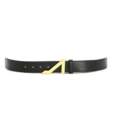 BLACK BELT WITH GOLD BUCKLE MADE WITH NAPA LEATHER