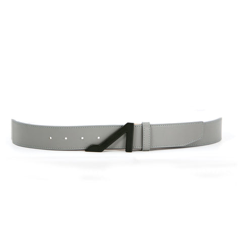 GREY BELT WITH BLACK MATTE BUCKLE MADE WITH NAPA LEATHER