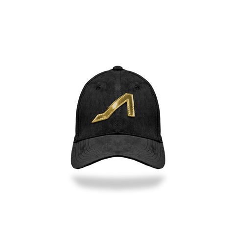 Black Ultra Suede with Gold Patent Leather Logo