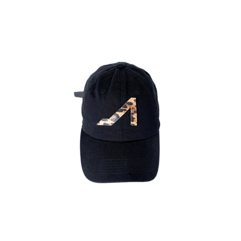 Black cotton hat with leopard logo