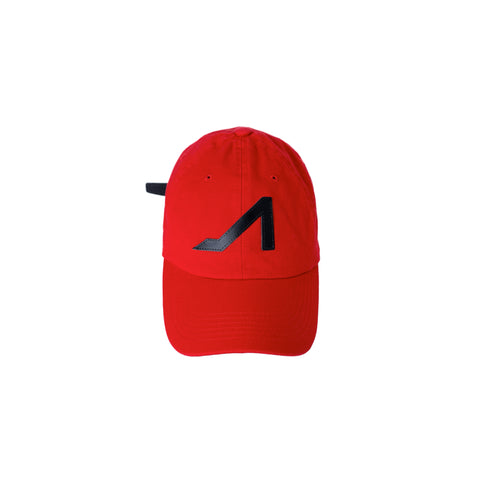 Red dad hat black logo