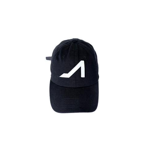 Black cotton hat with white logo