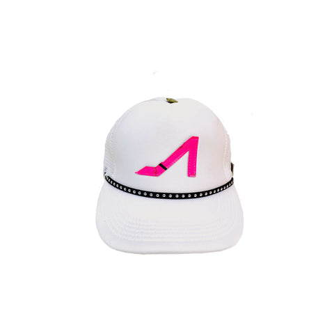 White Trucker with Fuchsia Logo