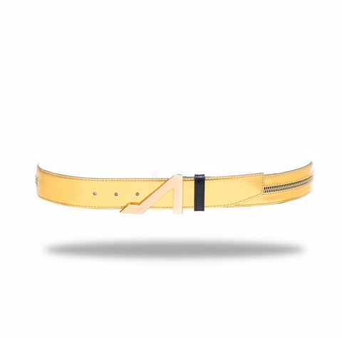 APOLINAR GOLD PATENT LEATHER ZIPPER BELT